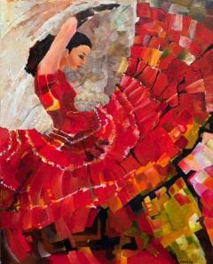 Rode jurk, 80 x 100 cm